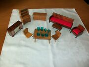 1960s Vintage Solid Wooden Doll House Furniture Set W/ Plastic Dishes
