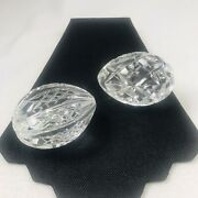 Waterford Crystal Annual Eggs Pair, Lot Of 2 Clear 1999, Signed Paperweight