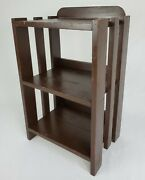Antique Bookshelf Book Case Plant Stand Arts And Crafts Mission Style Wooden 25.5