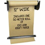Wall Mounted Kraft Paper Dispenser And Cutter Includes 50 Meter Long 12 Inches