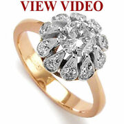 Old Russian Design Diamond Ring 14k Rose And White Gold R1008