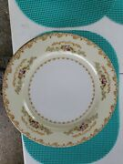 Jyoto China Occupied Japan Multicolored Flowers Gold Trim 12 Dinner Plates