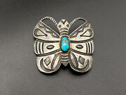 Vintage Native Whirling Log Butterfly Turquoise Stampwork Sterling Silver Brooch