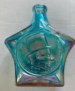 Vintage Wheaton Irridescent Blue W.c. Fields Star Carnival Glass Bottle 7 Inches