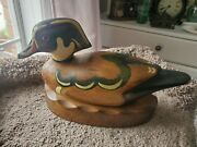 Wooden Bird Factory P. Korman Signed 1979 Wood Duck Drake Decoy And Base Free Ship