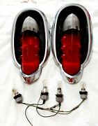 1955 Mercury Tail Lights Assembly Housing Pair Genuine Fomoco Mrst-55 Used 90