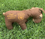 Vintage 40s 50s Wwii Us Army Fort Mcclellan Trainer Camp Souvenir Plush Donkey.