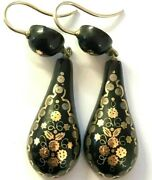 Antique Victorian Pique Earrings Silver Hooks Gold Inlay 3.8g
