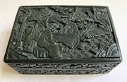 Antique Chinese Cinnabar Lacquer Carved Black Cigarette Box C1900-1920andrsquos Rare