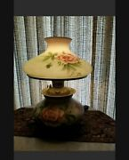 Antique Gone With The Wind Style Hand Painted Electrified Lamp