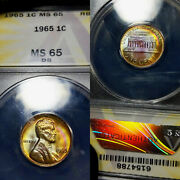 1965 Ms65 Rb Lincoln Memorial Cent 1c Anacs Graded Rainbow Tone