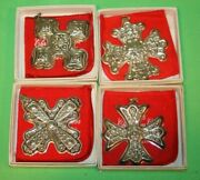 Reed And Barton Lot Of 4 Sterling Silver Christmas Cross Ornament W/boxes 15