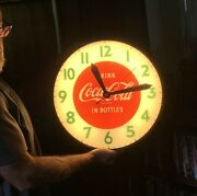 Vtg Coca Cola Bubble Glass Lighted Wall Clock Elwood Indiana Swihart Products