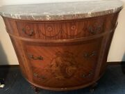 Vintage Antique French Marble Top Demilune Commode Chest With Marquetry Inlay