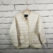 Everlane Womens Xs Oversized Jacket Quilted Puffer White Pockets Stain
