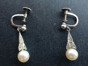Antique 1920and039s Swedish 18kt White Gold Drop Earrings Natural Pearls Diamonds