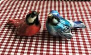 Vintage Goebel Blue Bird And Red Bird Figurines W Germany Porcelain Perfect