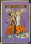 One Million Years Bc /she 1966 Original Uk Double Crown Poster .30 X 20 Inches