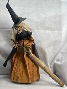 New Vintage Good Luck Kitchen Witch With Her Lucky Witch Broom 1950/1960