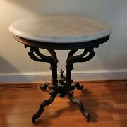 Vintage Antique Victorian Walnut White Marble Top Table With Brass Wheels