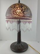 23 Victorian Table Lamp Glass Shade Fringe Beaded Accent Purple Color