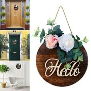 Elcome Sign For Front Doors Wooden Hanging Sign Rose Flowers Wreath Home Decor