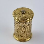 Antique 19th C. Gilt Brass Cylindrical Vesta Case Engraved Decoration And Diamond