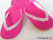 Havaianas Flip Flops Hot Pink Jeweled With  Crystals Ab Iridescent