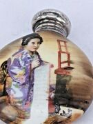 1904 Silver Topped Hand Painted Chinese Scent Bottle Of Chinese Lady