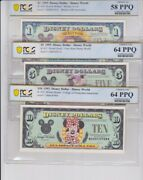 1993 D All Three Disney Dollars One Five And Ten Dollar D. Rare All In One Lot