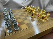 Rare 1982 Franklin Mint Royal Houses Britain Heraldic Chess Set Complete W Board