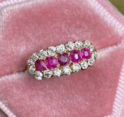 Antique 0.6 Carat Ruby And 1 Carat Diamond 14k Gold Band Edwardian Cluster Ring