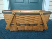 Longaberger 1999 Collector's Club Family Picnic Basket W/ Protector And Stackable