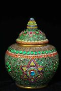 16and039and039 Old Collection Tibetan Temple Eminent Monk Handmade Gem Buddhist Relics Jar