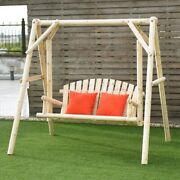 Rustic Wooden Swing Chair Patio Standing Bench W/a-frame Stand Set Outdoor Seat