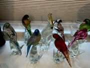 Vintage Set Formia Murano Glass Full Collection Exotic Birds Perfect Certificate