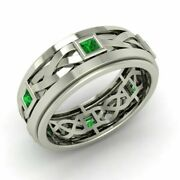 Certified Aaaa Emerald In Platinum Celtic Knot Wedding Engagement Ring Size 6.75