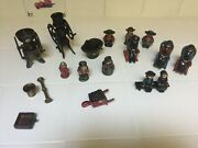 Vintage Lot Of Ten 10 Cast Iron Amish Figures And Some Tools Chairs And Bench