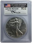 2011-s Pcgs Ms69 Silver Eagle 25th Anniversary Flag First Strike Autograph