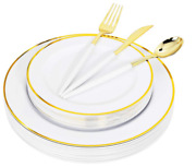 120 Piece Disposable Dinnerwear, Gold/white, 24 Plates, Spoons, Knifes, Forks