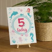 Mermaid 5th Birthday Table Sign And Easel | Girls Under The Sea Party Decoration