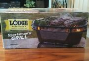Nib Lodge Cast Iron Sportsman Grill With Cover America Made Usa Bbq Portable
