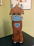 Wood Toilet Paper Roll Holder Handmade Cow Spare Rolls Rustic Farmhouse