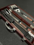 3 Piece Set Barbecue Tools With Case - Large Serrated Edge Turner, Fork And Tongs