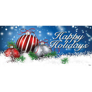 7 Ft. X 16 Ft. Red And White Christmas Ornaments On Red Christmas Garage Door De