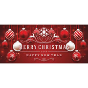 7 Ft. X 16 Ft. Red Ornaments In Snow Christmas Garage Door Decor Mural For Doubl
