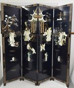 Vintage Chinese Black Lacquer Folding 4 Panel Room Divider Screen Mother Pearl