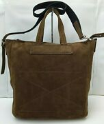Theory Brown Suede Leather Extra Large Messenger Tote Shoulder Bag Purse - Rare