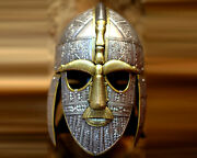New Medieval Sutton Hoo Viking Helmet Armor Costume With Wooden Display Stand