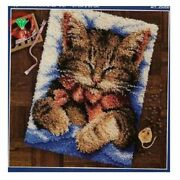 Needlework Latch Hook Rug Kits Cat Picture Carpet Embroidery Patchwork Crochet